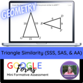 Geometry:   Triangle Similarity (SSS, SAS, & AA) Mini Form