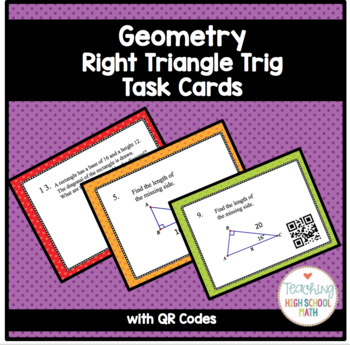 Geometry Right Triangle Trigonometry Task Cards with QR Codes