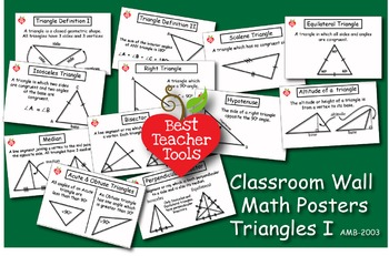 Math Posters, Math Concept Posters, Geometry: Triangles I Wall Posters, AMB-2003