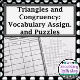Congruent Triangles - Unit 4: Congruency Unit -  Vocabulary Assignment & Puzzles