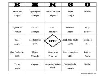 Congruent Triangles - Geometry Triangles and Congruency Vocabulary Bingo Game