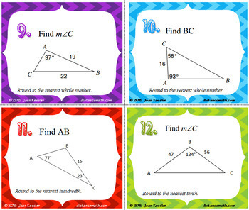Law of Sines Task Cards Plus HW and optional QR