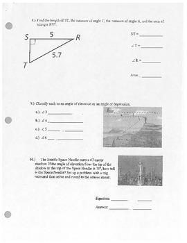 Geometry Trig Ratio Quiz