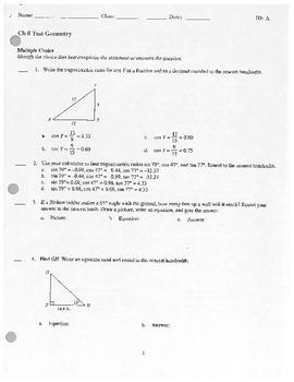 Geometry Trigonometric Ratio Test