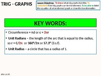 Geometry: Trigonometry 10 - Transforming Trig Graphs (+ worksheet)