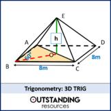 Geometry: Trigonometry 3 - 3D Trig (soh cah toa) + worksheet