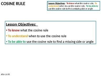 Geometry: Trigonometry 5 - Cosine Rule (+ worksheet)