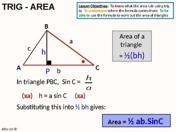 Trigonometry 6 - Area Rule using Trig (1/2abSinC) + worksheet