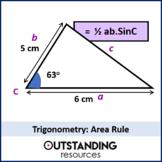Geometry: Trigonometry 6 - Area Rule using Trig (1/2abSinC