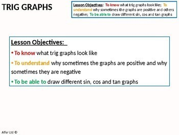 Geometry: Trigonometry 8 - Drawing basic Trig Graphs (+ Questions)