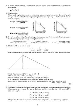 Geometry Trigonometry Cheat Sheet