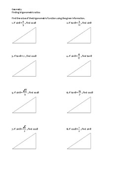 Geometry, Trigonometry -- Finding trigonometric ratios given another ratio