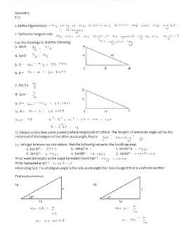 Geometry, Trigonometry -- The tangent ratio