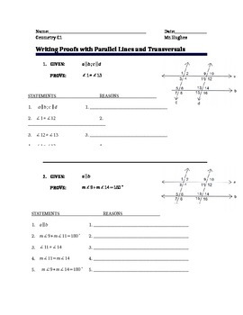 Geometry - Two Column Proofs for Parallel Lines and Transversals #1 (chapter 3)
