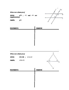 Geometry - Two Column Proofs for Parallel Lines and Transversals #2 (chapter 3)