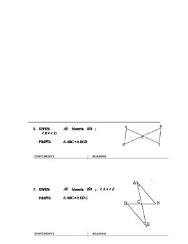 Geometry - Two Column Proofs Using SSS SAS HL AAS ASA #1 (chapter 4)
