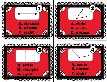 Geometry - Types of Angles (Acute, Right, Obtuse, Straight) Task Cards