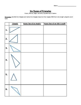 Geometry Types of Triangles