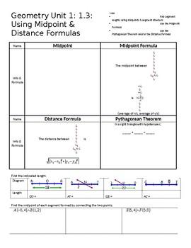 Geometry Unit 1: 1 3: Using Midpoint & Distance Formulas