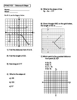 Geometry Unit 1 Distance and Slope Worksheet