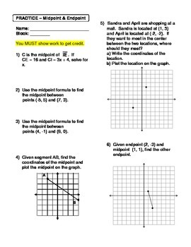 Geometry Unit 1 Midpoint and Endpoint Worksheet
