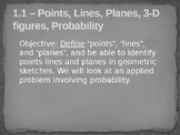 Geometry Unit 1 Slides - Tools of Geometry Points Lines Planes Free Sample