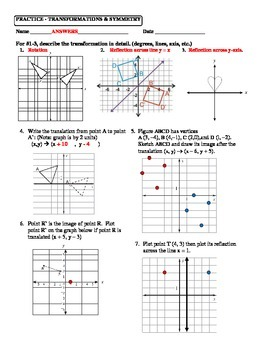 Geometry Unit 1 Transformations Reflection Translation Reflection Worksheet