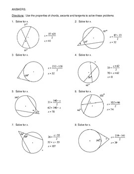 Geometry Unit 10 - Circle Angles form by chords secants tangents Worksheet
