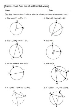 Geometry Unit 10 - Circle Arcs Central Inscribed Angles Worksheet
