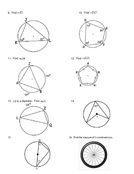 Geometry Unit 10 - Circle Arcs Central Inscribed Angles ...