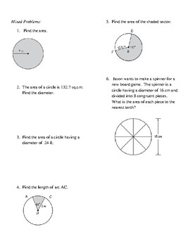 Geometry Unit 10 - Circle Area Circumference Sector Area Arc Length Worksheet