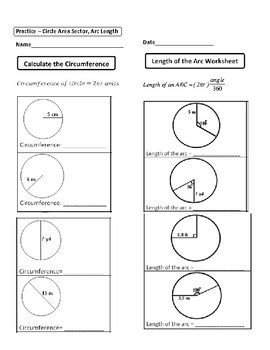 Geometry Unit 10 Circle Area Circumference Sector Area Arc Length