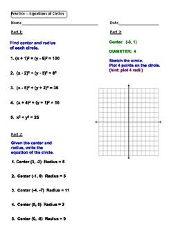 Geometry Unit 10 - Circle Equations Worksheet