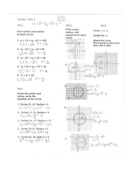 Geometry Unit 10 - Circle Equations Worksheet