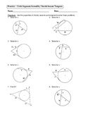 Geometry Unit 10 - Circle Segments formed by chords secants tangents Worksheet