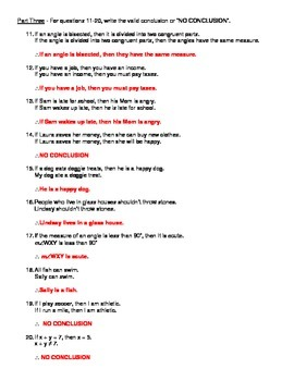 Geometry Unit 2 Logic Law of Syllogism and Law of Detachment Worksheet