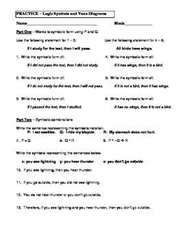 Geometry Unit 2 Logic Symbols and Venn Diagrams Worksheet