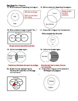 Geometry Unit 2 Logic Symbols and Venn Diagrams Worksheet