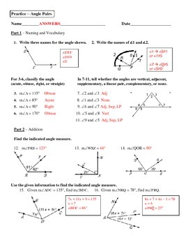 Geometry Unit 3 Angle Pairs Addition Bisectors Worksheet