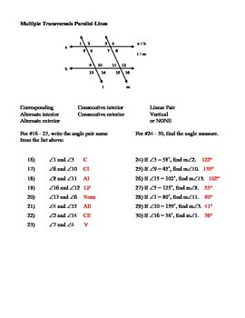 Geometry Unit 3 Parallel Lines Angles formed by Transversals Worksheet