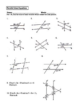Geometry Unit 3 Parallel Lines Solving Equations Worksheet