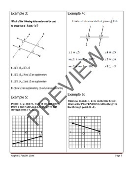 Geometry Unit 3 Student Notetaking Guide - Angles and Parallel Lines