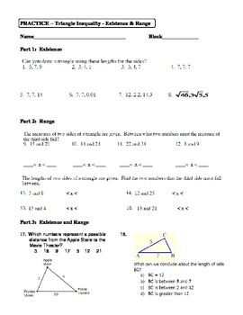 Geometry Unit 4 Triangle Inequality Existence and Range Worksheet