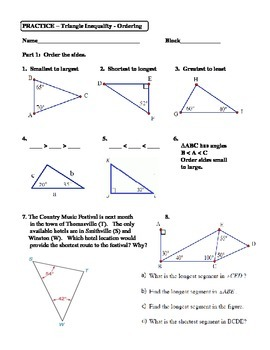 Geometry Unit 4 Triangle Inequality Ordering Worksheet | TpT