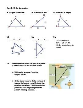 Geometry Unit 4 Triangle Inequality Ordering Worksheet