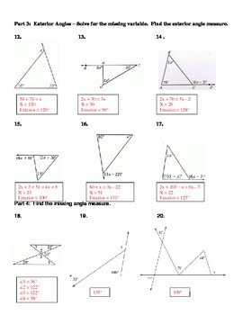 Geometry Unit 4 Triangles Classify Sum and Remote Exterior Worksheet