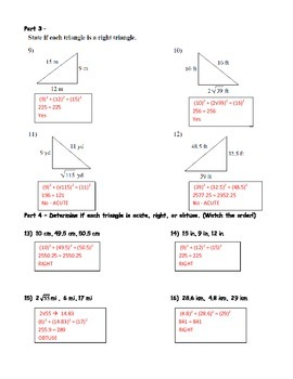Geometry Unit 4 Triangles Pythagorean Theorem and Converse Worksheet