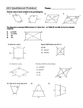 Geometry Parallelogram Rectangle Square Rhombus Trapezoid Worksheet Activity