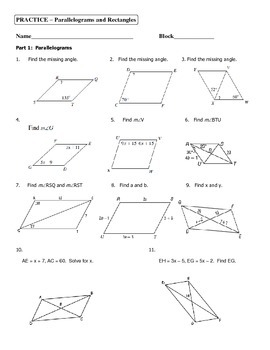 Geometry Unit 5 Parallelograms and Rectangles Practice Worksheet