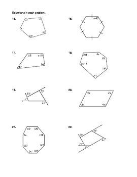 Geometry Unit 5 Polygons Angles Practice Worksheet Regular and Irregular